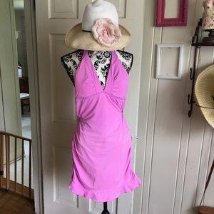Athleta Swim Dress - -M  pink /orange  halter ,